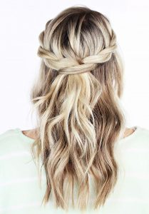 Twisted braid crown - half up half down hairstyle