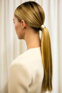 Low ponytail with accessory - easy ways to style a ponytail